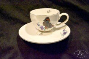 Čajový šálek černý Motýl
