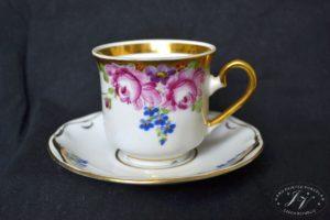 Kávový šálek Květy Bohatě Zdobený Zlatem
