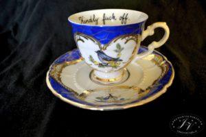 Kávový šalék Modrý Ptáčci S Nápisem